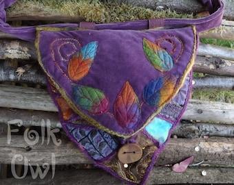 Hip Bag- Belt Bag- Leaf Bag- Utility Belt- festival bag - woodland bag-rainbow colours - pixie bag-pixie pouch