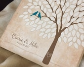 Rustic Wedding Tree Guest Book Alternative, Custom Wedding Tree Guest Book, Personalized Love Birds Poster, 50-300 Guests, Canvas or Print