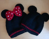 Mickey OR Minnie Mouse Inspired Beanies for Children and Adults - Hand Knit Mickey Mouse Hat