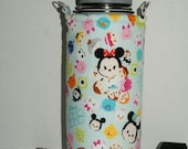 """Insulated Water Bottle Holder for 32oz Hydro Flask / Thermos with Interchangeble Handle/Strap Made with """"Tsum Tsum - Colorful #2"""" Fabric"""