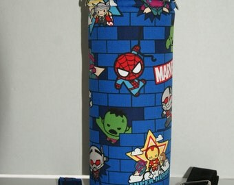 """Insulated Water Bottle Holder for 40oz Hydro Flask / Thermos with Interchangeble Handle/Strap Made with """"Marvel Tsum Tsum - Blue"""" Fabric"""