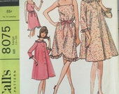 McCall's 8075 Misses' Robe and Nightgown Pattern, UNCUT, Size Large 18-20, Vintage 1965, Housecoat, Camisole Top Nightgown