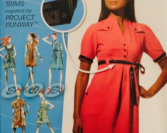 Simplicity 0591, Size 12-14-16-18-20, Misses' Dress with Bodice Variations Pattern, UNCUT, 2009, Project Runway, Sundress, Sleeve Variations