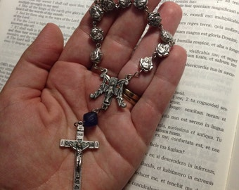Silver and Cobalt Single Decade Rosary