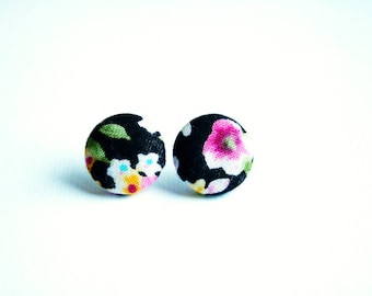 Fabric covered button earrings, floral pattern in black, pink, green and yellow