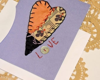 Embroidered Valentines Day Card, Primitive Heart Vintage Crazy Quilt Greeting Blank Love Note, Wedding Anniversary Card itsyourcountry