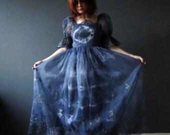 Blue Tie Dye Prom Party Evening Dress Boho Wedding Maxi Dress Size XS Repurposed