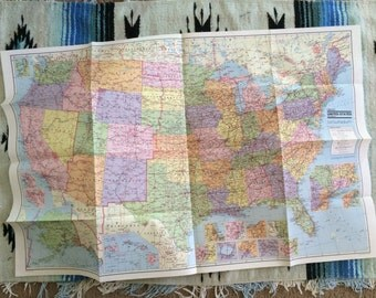 80s Vintage 38 x 25 United States Poster Map of America USA American School Educational Map Decor