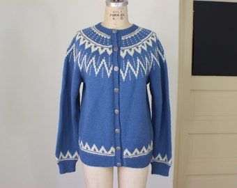 Norwegian Cardigan / Wool Blue and Cream Sweater / Vintage Women's Jumper