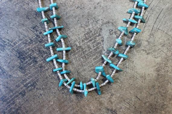 Double Strand Turquoise Necklace / Turquoise Heishi Necklace / Vintage Santa Domingo Style Jewelry