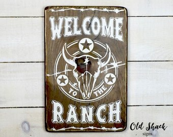 Welcome to the ranch, wood sign, handmade, ranch sign, ranch decor, farmhouse, cowboy decor, western style, (#10-026)