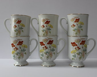 Set of Six Painted Poppy China Cups, Fanci Florals Collection