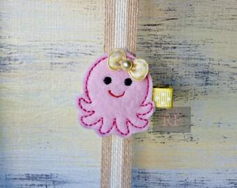 Felt Octopus on Alligator Clip - Under the Sea Clip - Embroidered Felt - Hair Clip