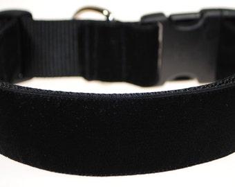 "Black Velvet 1.5"" Width Adjustable Collar"