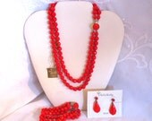 Vintage 1950s Opaque Red Glass Bead Necklace Bracelet and Earrings Parure Set Multi Strand