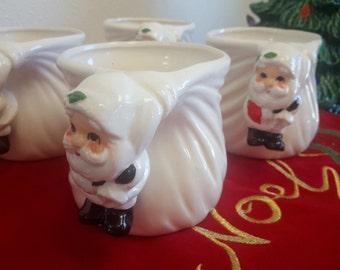 Vintage Fitz and Floyd Santa Mugs Set of 4 Dated 1977 Christmas Holiday Collectible Decor Santa Claus Handle Drinking Mug