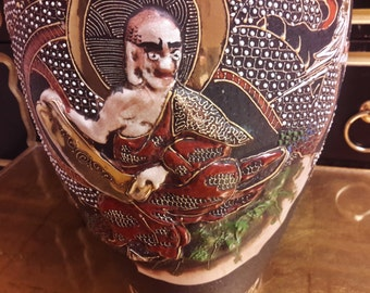 LARGE SATSUMA MORIAGE Vase Asian Japanese Deity Dragon Black Vase With Gold Embellishment Porcelain Home Decor