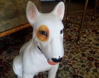 SOLD----------Bull Terrier Dog Figurine Life Size Bell Europa Ceramiche Made In Italy Ceramic Home Decor Spuds Mackenzie