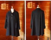 SALE / vintage 1950s coat / 50s black wool swing coat / size large