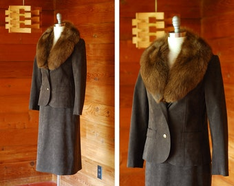 vintage I Magnin chocolate brown ultrasuede and fur suit / size small
