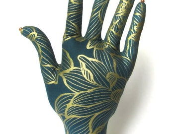 Gold Dahlia Teal Fabric Hand Jewelry Organizer POPULAR Style HAND-Stand