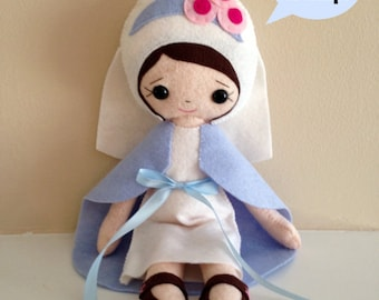 Catholic Toy Doll - Our Lady of Grace - Wool Felt Blend - Catholic Toy - Felt Doll