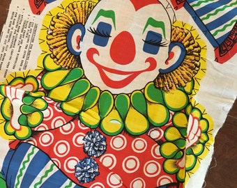 Chester fabric vintage supply circus clown bright and whimsical fabric panel