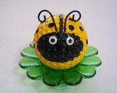 Yellow Ladybug Desk Flower / Ladybug Paper Weight