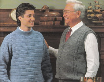 Knitting pattern mens pullover vest, shaker pullover sweater, button front vest sport weight yarn size 40 42 44 46 48 Leisure Arts 2002