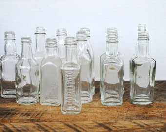 Vintage Empty Glass Miniature Liquor Bottles Labels Removed Assorted Mix of 12