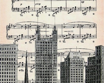 NEW YORK MUSIC Skyline Art Print Skyscraper Broadway nyc Big Apple Met Fifth Avenue Manhattan mr47 1