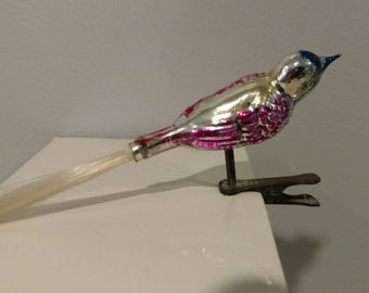 Vintage Christmas Clip On Bird Glass Ornament Silver Blue Laveder