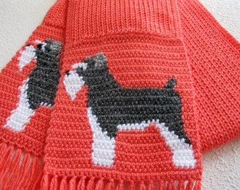 Miniature Schnauzer Scarf. Coral knitted scarf with Schnauzer dogs. Knit dog scarf.