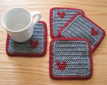 Crochet Coasters. Gray and burgundy coaster set with small hearts. Set of 4