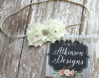 Ivory Petite Double Shabby Flower Headband- Newborn/Infant/Toddler/Adult-Photography Prop- Ivory Headband- Newborn Headband- Mini Shabby
