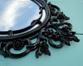 "Large Ornate Oval Vintage Mirror Wall Mirror Ornate Gilded Frame, Hollywood Regency Paris Apartment, French Gothic Black ""Gatekeeper"""