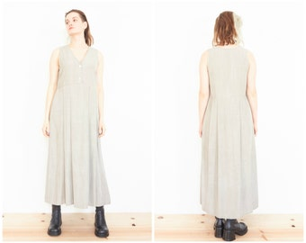90s Sleeveless Grey Baby Doll Sundress / Minimal Maxi Dress