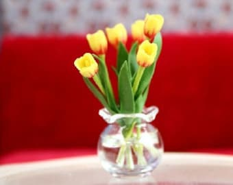 Dolls House Miniature Tulips In A Glass Vase