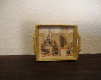 Miniature dollhouse wooden tray decorated ivory shabby chic