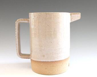 handmade Stoneware Pitcher, Beige Pitcher, Beige Jug, Handmade Ceramic Jug, Pottery Pitcher, Big Coffee Mug