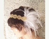 SALE Rhinestone headband GATSBY HEADPIECE flapper headband bridal accessories Gold white feather 1920s headband flapper headpiece bridal hea