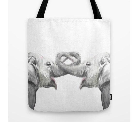 elephant tote bag book bag anniversary gift casual tote