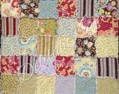 Rag Quilt - Queen Size - Ready To Ship Gypsy Caravan - Amy Butler - brown green red Modern Bedding