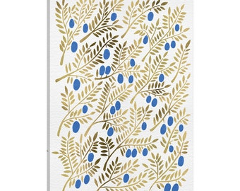 iCanvas Blue Gold Olive Branches Artprint Gallery Wrapped Canvas Art Print by Cat Coquillette