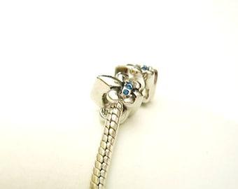 2  PUGSTER, Silver 925, Vivid Fluer De Lis, European Charms for Bracelet or Necklace, Blue Crystals, September Birthstone, SALE