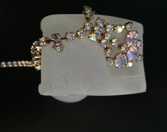 Lisner ab necklace earrings aurora borealis rhinestone festoon bridal set vintage demi parure brilliant and fiery