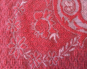 Moroccan tablecloth bedspread BOHO rose red white ethnic piano scarf Turkish Armenian  jacquard damask cotton wool? textured