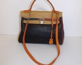 Vintage muti coloured real leather kelly shoulder bag handbag with working lock and key by Jaques Carriat