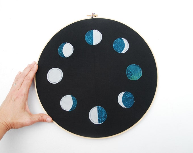 Moon Phases Hoop Art,  Organic Cotton Wall Hanging, Embroidery Hoop, Quilted Fiber Art Hoop, Stitch Art
