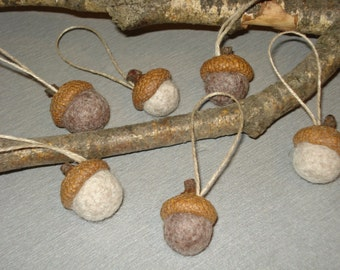 Acorn Ornaments Set of 6, Wool Felt Oak Nuts ECO Home Christmas Easter Thanksgiving Autumn Fall Wedding Party Holiday Decoration, Gift ideas